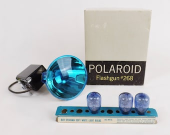Vintage Polaroid Flashgun # 268 w/ Original Box & 3 Sylvania Flash Light Bulbs