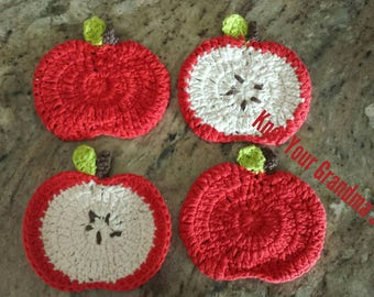 Apple Coaster, Teacher Appreciation Gift, Teacher Gift, Crochet Apple Coaster, Coaster, Apple Decoration