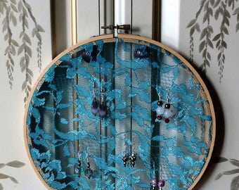 """Teal Green Lace Earring Hanger Organizer with 8"""" Hoop Natural Wood Frame"""