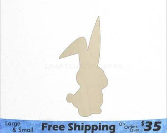 Easter Bunny Shape - Cute - Large & Small - Pick Size - Laser Cut Unfinished Wood Cutout Shapes (SO-0118)