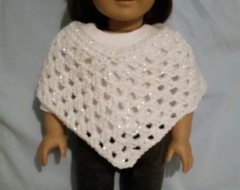 Crochetd Poncho & Hat made for American Girl Doll; dressy, white with silver threads