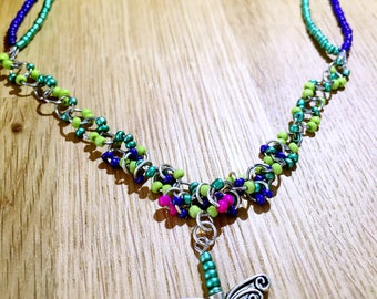 Butterfly Necklace, Colored beads
