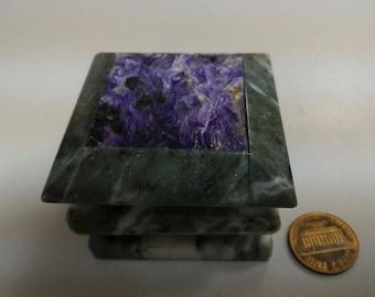 Serpentine box with  charoite cover