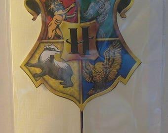 Handmade Harry Potter Inspired House Crest Birthday Card - Hogwarts