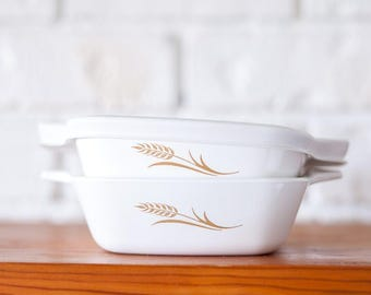Mini Corningware Wheat Pattern Casserole Dish x 2