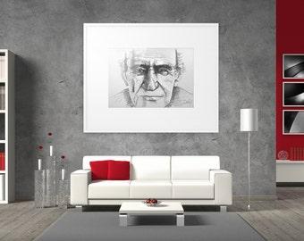 Line drawing portrait, Old man sketch, Modern art portrait, Contemporary portrait, Original portrait sketch, Old man oversized portrait.