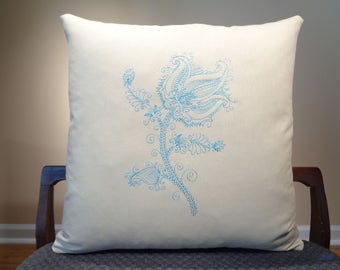 Flower Embroidered Pillow, Modern Flower Decor, Rustic Flower Pillow Cover, Blue Flower, Blue Rose Cushion