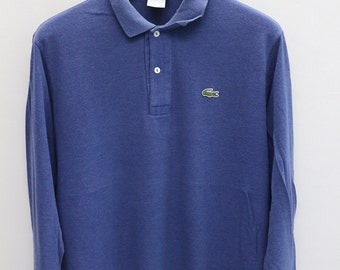Vintage LACOSTE Blue Long Sleeve Polos Shirt Size 5