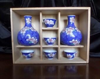 FUKAGAWA Sake Set, Hand-Painted Cherry Blossoms, in Original Wooden Box