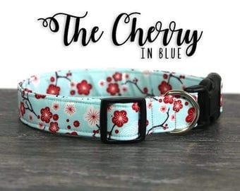 Blue Cherry Blossom Dog Collar, Cherry Blossom Collar for Dogs, Cute Dog Collars, Flower Dog Collar, Feminine Dog Collar, Blue Flower Collar