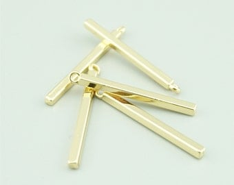 20pcs 2x32mm Gold Cuboid Charm Pendants,Geometry Charm Pendants LXZ016