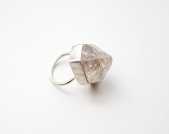 Clear Moon Silver Quartz Point Ring