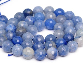 "10MM Faceted Blue Aventurine Natural Gemstone Full Strand Round Loose Beads 15"" (100904-343)"
