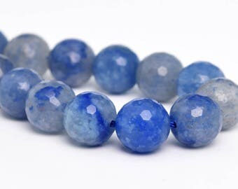 "6MM Faceted Blue Aventurine Natural Gemstone Half Strand Round Loose Beads 7.5"" (100902h-343)"