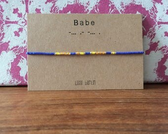 Bracelet friendship band Morse code BABE can be customized