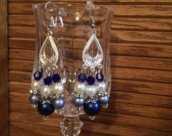 Blue, Gray, and White Teardrop Earrings,chandelier earrings,one of a kind, unique
