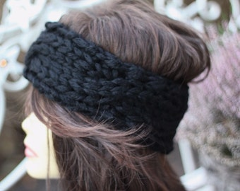 Knit braid headband deep black Alpaca mohair