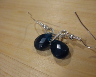 Blue Jade and Silver Earrings