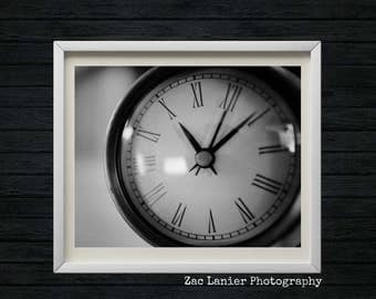 Vintage Clock Photography, Monochromatic Photography, Black and White, Commercial Clock, Wall Clock, Object Photo, Still Life, Industrial