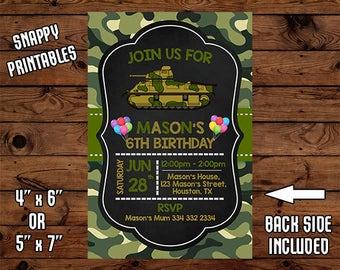Army Birthday Invitation, Army Birthday Invite, Army Party Invite, Printable, Digital File - 021