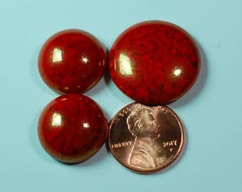 Red Coral Lumi Czech Pressed Glass Cabochons
