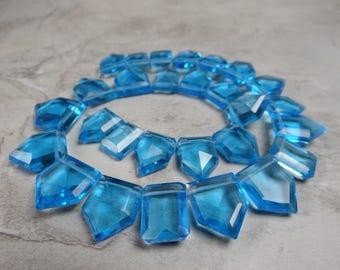 Swiss blue faceted shield Quartz briolettes/16x12-17x15mm/6.5 inch strand