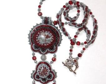 Beaded pendant necklace Beaded jewelry Bib necklace Beaded tie Beadwork jewelry Bead embroidered jewelry Handmade gift for her Women gift