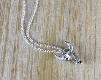 Silver horns Buffalo head necklace