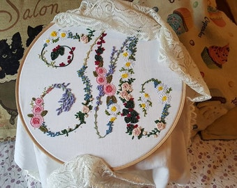 Hand embroidered Floral Monogram