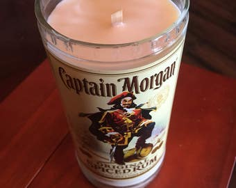 Handcrafted Soy Candle from a Repurposed Captain Morgan Bottle