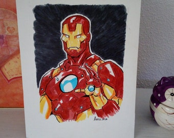 Iron Man Comic made with felt-tip pens on canvas wood