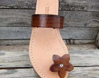 Ancient Greek Toe Ring Sandals With Flower Motif Handcrafted in Greece