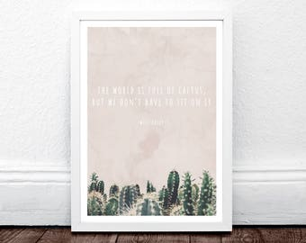 Cactus Quote, Cactus Print, Green Cactus, Pastel Mint Green, Minimalist Plant Art, South Western Wall Decor, Instant Download, Cacti