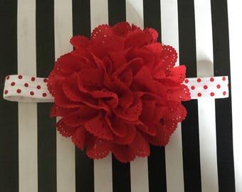 Red and White Eyelet Flower Headband