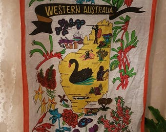 Vintage Australiana linen tea towel- western Australia