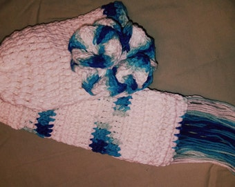 White and Blue crocheted flower beanie with matching scarf