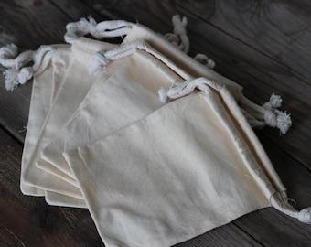 Cotton muslin drawstring pouch, 4 x 6 drawstring bag,  fabric bag,