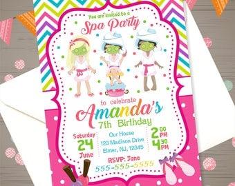 SPA INVITATION Spa Birthday Invitation SPA Birthday Party Girls Spa Party Invitation Spa party Invite Sleepover Manicures Pedicures Pumper