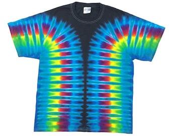Tie Dye T-Shirt - Stripes Aqua Black
