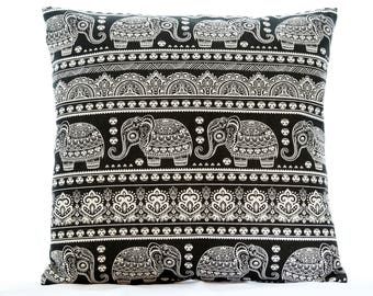 Indian elephant cushion cover, animal print pillow cover, black and white cushion cover, 16 inch sofa pillow cover, square cushion cover