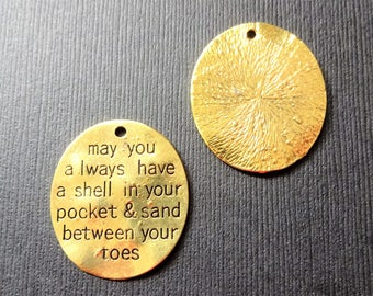 5 SHELL IN POCKET charms weathered look gold tone -measures 1-1/4 inch-may you always have a shell in your pocket and sand between your toes