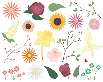 Flowers Clipart Set - Floral Clip Art Collection for Commercial Use, High Res, JPG, PNG and Vector formats