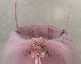 Baby pink flower girl basket