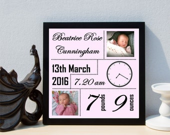 Personalised New Baby Girl Date of Birth Christening Framed Print