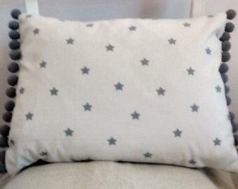 Handmade cushion cover French Linen Look Vintage Grey Stars chic pompom trim