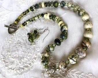 Jasper Gemstones and Sterling Silver Jewelry Set, Jasper Necklace, Gemstones Necklace, Sterling Silver and Gemstones Earrings