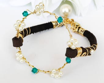 Flower Leather Bracelet / Cognac Brown Bracelet Leather