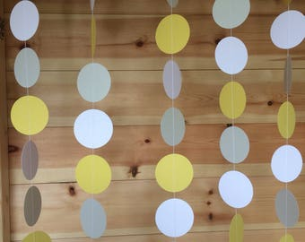Grey, white and yellow, Circle Garland , decor, parties, weddings, baby showers,