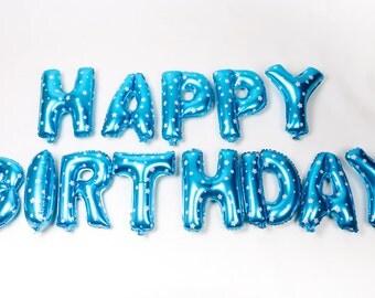 Balloons Happy Birthday Set Blue.