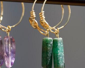 Imperial Roman or Byzantine Emerald Green Aventurine and Brass Hoop Earrings
